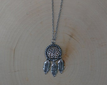 Dreamcatcher Charm Necklace | Silver Pendant Necklace | Boho | Nature | Tribal