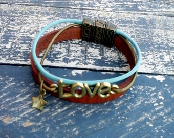 Boho Leather cuff bracelet turquoise and natural leather with love charm and beautiful copper color closure Boho chic