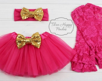 Hot Pink Tutu Skirt Set, Baby Tutu Skirt, tutu skirt & headband set, Girl Tulle Skirt, baby girl skirt, 1st birthday Cake Smash outfit, ACC