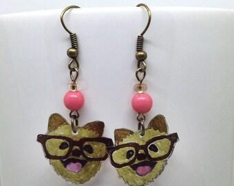 Smiling Dog Shrinky Dink earrings, Dog Shrinky Dink Earrings, Dog Earrings