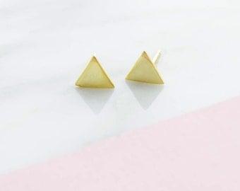 Gold triangle stud earrings, dainty stud earrings, dainty earrings, everyday earrings, earrings, girlfriend earrings, silver stud earrings