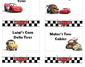 Cars Food Labels - Blanks Included!