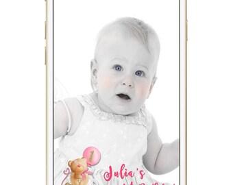 SNAPCHAT GEOFILTER First Birthday|Snapchat Geofilter baby's 1st birthday|Baby's First Birthday geofilter|Snapchat filter Birthday Teddy Bear