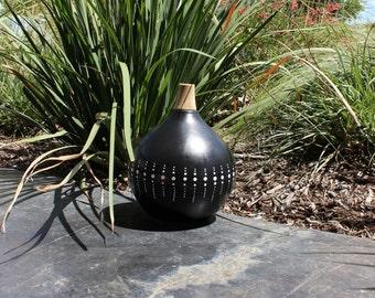 50% OFF: Polka Dot Flower Vase, Black Vase with White Beads