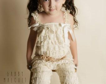 Lace Petti Romper, Baby Girl Lace Romper, Girls Petti Romper, Petti Pants, Birthday Set, Cream Petti Romper, Girls Rompers, Toddler Rompers