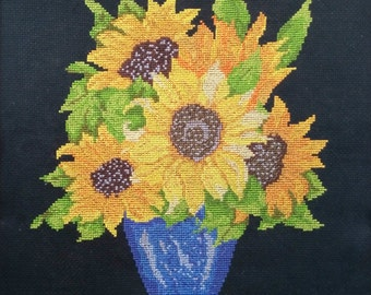 Completed Cross Stitch embroidery, Finished Cross Stitch of Sunflowers in a vase