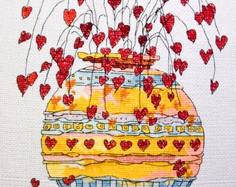 Completed Cross Stitch of Pots Of Love, Completed scenery Cross Stitch embroidery, Finished Cross Stitch