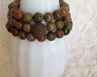 Beaded Multi Strand Bracelets with Unakite Beads-Vintage Button-Set of 3-Repurposed-Stackable-Button Bracelet-Unique-One of a Kind-Upcycled
