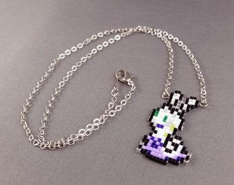 Sliggoo Necklace - Pixel Necklace Pokemon Necklace Pixel Jewelry 8 bit Necklace Seed Bead Neklace Video Game Necklace Starter Pokemon