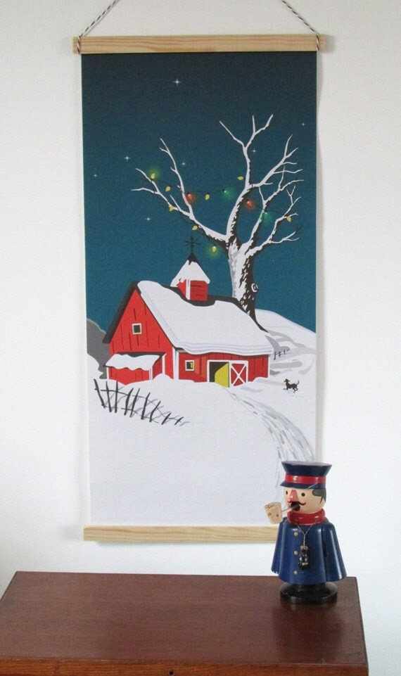 Christmas decor, wall hanging art banner, Fairy lights, Vintage Scandi mid century style fabric banner, canvas print, snow, cabin, house.