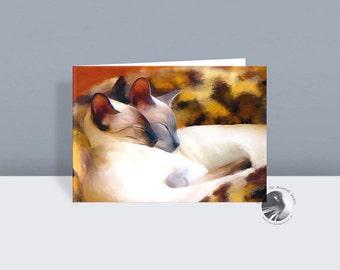 Sleeping Siamese - Cat Greetings Card