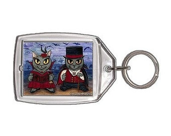 Vampire Cat Keychain Couple Graveyard Gothic Fantasy Cat Art Keychain Keyring Cat Lovers Gifts