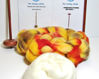 Double Drop Spindles Yarn Spinning Kit Maple Wood Colorway, Maine Autumn With both Top and Bottom Whorl Spindles