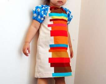 BOOKS AND ELEPHANTS Dress - Super Chic - Super Cool Mod Dress - Modern Handmade Shift Dress for Baby, Toddler, Big Girl - by joeyandaleethea
