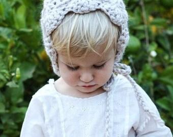 Crochet Baby Girl Bonnet with Cream Alpaca Yarn in a Soft Shell Stitch