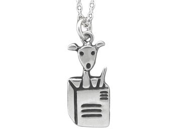 Dog in a Box Necklace - Sterling Silver Dog Pendant - Dog Charm
