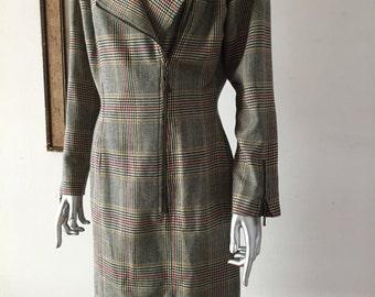 Emanuel Ungaro Asymmetrical Zippered Plaid Wool Dress