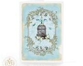 Vintage bird cage, card, blue birds, blue, white roses, bird cage, Wedding card, birthday card, vintage style, romantic card, blank card