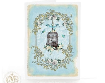 Vintage bird cage card in blue with white roses, alloccasion, blank inside