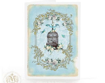 Vintage bird cage card, birthday card, friendship card, romantic, blank all occasion card