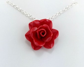 Tomato Red Rose Pendant - Simple Rose Necklace - Red Rose Necklace  - Bridesmaid, Wedding Jewelry - Polymer Clay - MADE to ORDER