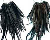 Badu Leather Fringe Statement Necklace | Boho Gypsy Silver Chain Breast Plate | Long Leather Fringe Tassels | African Beads | Tribal Jewelry