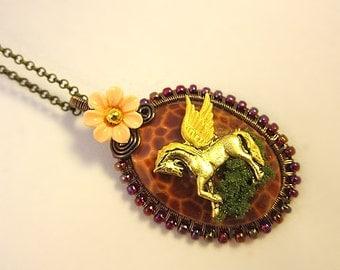Pegasus Necklace, Pegasus Jewelry, Pegasus Fantasy Necklace, Elegant Pegasus Jewelry, Fire Agate Gemstone Necklace, Fairy Tale Necklace