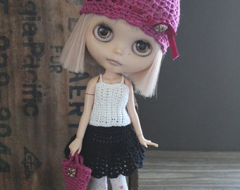 Blythe Crochet Beanie with Decorative Button and Satin Ribbon and Matching Bag OOAK