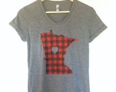 Women's Minnesota Love Flannel Tshirt- Screen Printed Minnesota Red Buffalo Check Women's T-Shirt