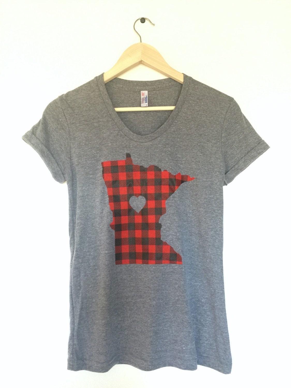 women 39 s minnesota love flannel tshirt screen printed