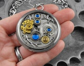 Blue Silver Gold Clockwork Branches Large Pendant Necklace - Deluxe Nothing But Blue Skies in Our Mechanical World by COGnitive Creations