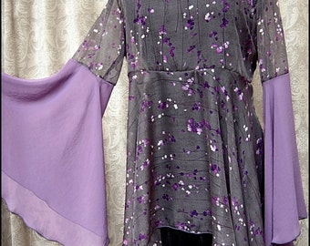 Ethereal Plum Blossom Tunic - One of a Kind Lavender Gray Chiffon Shadowen with Flared Bell Sleeves by Kambriel - Brand New & Ready to Ship!