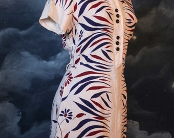 Vintage 1930s Art Deco Printed White Linen Day Dress - Size M/L