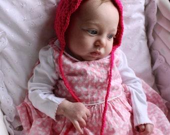 Hot pink baby bonnet