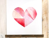 Watercolor Geometric heart - Canvas wall hanging, wood trim printed on textured cotton canvas. Bright bold fuschia, pink, magenta heart
