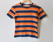 Orange Navy, Stripes, Cropped T Shirt, 90s T Shirt, 90s Clothing, Size 6, T Shirt, Striped Top, Vintage Tee, Summer Shirt, Round Neck