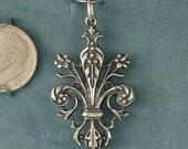 Ornate Fleur De Lis Sterling Silver Pendant Charm