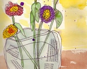 Five Zinnias in a Glass Vase, digital print, watercolor with thread stitching,orange, purple, pink, yellow, green, still life