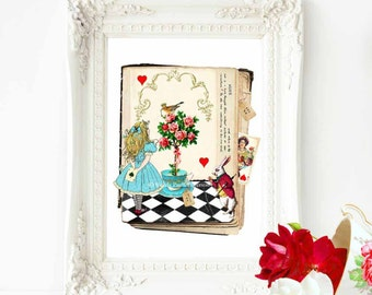Alice in Wonderland nursery print with the white rabbit and queen of hearts, A4 giclee