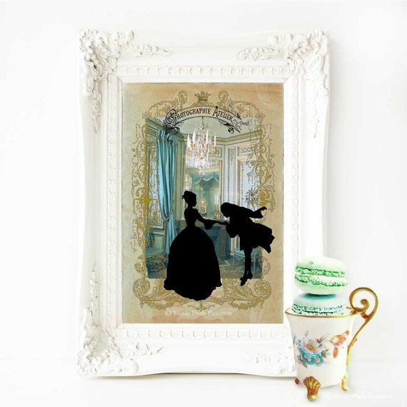 Marie Antoinette romantic couple silhouette print, cameo, Chateau Versailles, chandelier, French vintage decor, blue and gold, home decor