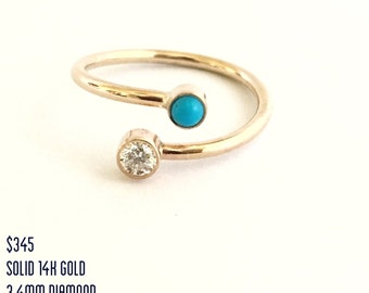 Dual Birthstone Ring 14k Gold, Personalized Jewelry, Modern Engagement Ring, Unique Engagement Ring, Alternative Wedding Ring Gifts For Her