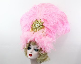 Pink Feather Headdress, Burlesque Showgirl Headpiece, Carnivale Costume, Viva Las Vegas, Gold Belly Dance Accessory