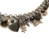 Milagros and hearts charm bracelet with labradorite and pearls