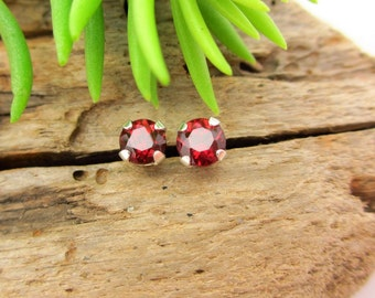 Ruby Red Garnet Studs - Genuine Red Garnet Stud Earrings, Real 14k Gold, Platinum, or Sterling Silver - 3mm, 4mm