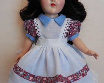 "For 14"" P-90 Ideal Toni Doll, a One-of-a-Kind Re-Creation of an Original Pinafore Dress. Also Fits Rosette"