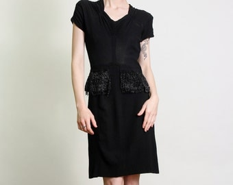 SALE - 1930s Beaded Peplum Dress . Antique LBD