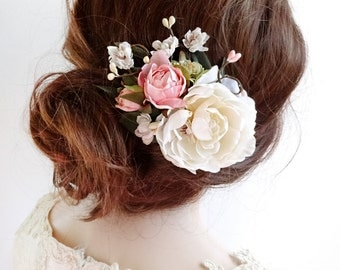 bridal hair clip, floral hair clip, bridal hair piece, floral hair comb, bridal hair flower, ivory flower hair clip, pink rose, garden wed