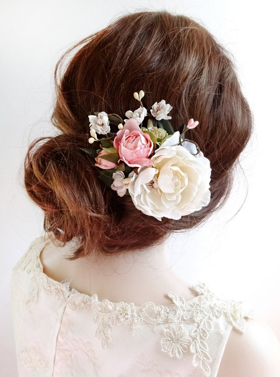 Wedding Hair Flowers Pink : Bridal hair clip floral by thehoneycomb