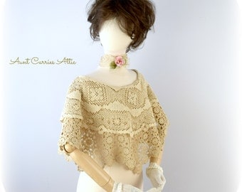 Shabby Chic Shrug Bridal Shawl Wedding Cape made from Fine Vintage Lace and Crochet Bohemian Gypsy Tea Stained Victorian
