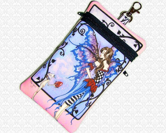 The Gift Amy Brown fairy cell phone bag, small travel bag, essentials bag, wristlet, 2 pockets, padded electronics case